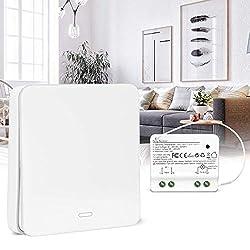2000Watt max Erg/änzung f/ür einen Lichtschalter EIN AUS Schalter 49x49x25mm LED geeignet Funk-Empf/änger f/ür Wand Lichtschalter Unterputz Einbau