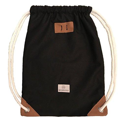 SODERBERGH Gimnasia Bolsas Bolsa de gimnasio bolsa de deporte mochila de lona unisex de talle bajo Mujeres Hombres Niños, Farbe:Black
