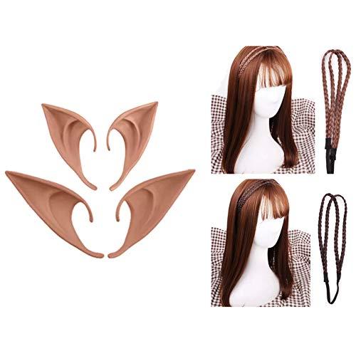 thematys Elfenset - 2X Haarband Elben, ohne Perücke, Elfenohren 2X Paar zum Aufstecken Feen - Elfenkostüm für Erwachsene & Kinder - perfekt für Fasching, Karneval & Cosplay - Damen Herren