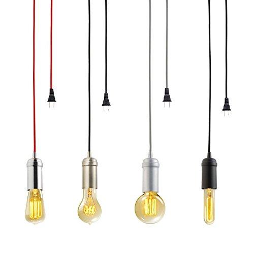 KINGSO E27 Edison Hängelampe retro stoffkabel Metall lampe messing Pendelleuchte mit textil Kabel Kronleuchte DIY fassung kupfer messing Lampenfassung Vintage mit textilkabel Stecker und Schalter schwarz