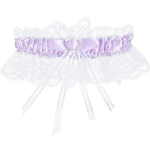 iiniim Damen Strumpfband zur Hochzeit von Prinzessin Brautkleid Hochzeit aus Spitze Satin Weiß+Lila...