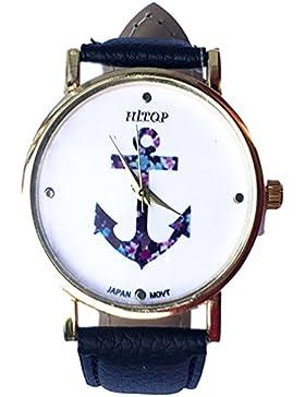 HITOP Vintage Damen Armbanduhr Fancy Anker Blume Leather Quarz uhr Lederarmband Uhr Top Watch schwarz