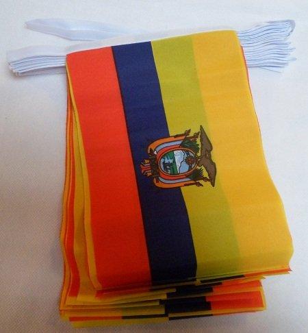 AZ FLAG Guirnalda 12 Metros 20 Banderas de Ecuador 45x30cm - Bandera ECUATORIANA 30 x 45 cm - BANDERINES