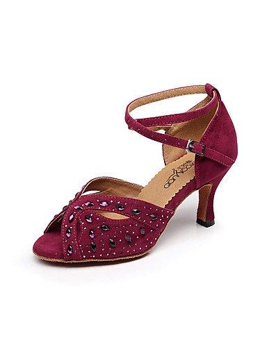 La mode moderne femmes Sandales Chaussures de danse Latine Salsa Daim Suede/sandales talon Professional/intérieur noir/bleu/vert/rouge US5/EU35/UK3/CN34