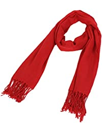 sourcingmap Women Lady Solid-colored Fringed Dual-use Pashmina Wrap Shawl Scarf
