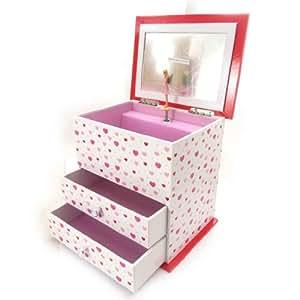 Jewellery box 'Contes De Fées' red white music.