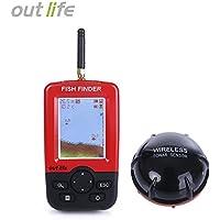 HAPQIN Buscador de Peces Portátil Outlife con Sensor inalámbrico Sonar LCD Display