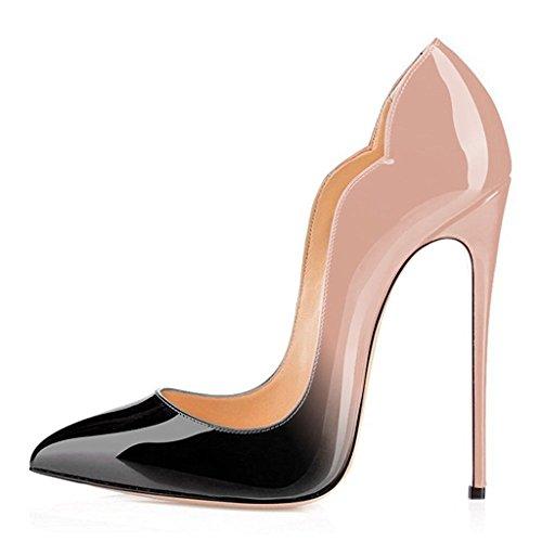 EDEFS Damen Spitze Zehe 12cm High Heel Pumps Stilettos Schuhe Übergröße Sexy Pumpen Beige