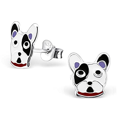 Girls Silver Earrings Boston Terrier Dog Puppy 925 Sterling Silver Earrings -With Gift Box -