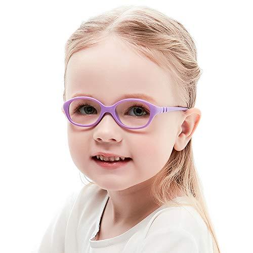 Unzerbrechlich biegsam Kinder Kids Brille Teenager Gestell Rahmen Fassung grau und rosa Gläser klar, oval schick für Mädchen (Alter2-5 Jahre) (WK12 C3 Purple)