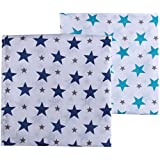 haus & kinder Twinkle Collection Cotton Muslin Swaddle Wrap for New Born Baby, Pack of 2 (Size 100 cm by 100 cm, Turquoise + Navy)
