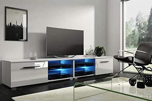 PEGANE Meuble TV Design avec éclairage LED, Coloris Blanc/Blanc Brillant - Dim : 200 x 40 x 36 cm