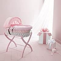 Izziwotnot Wicker Moses Basket Stand (Baby Pink)