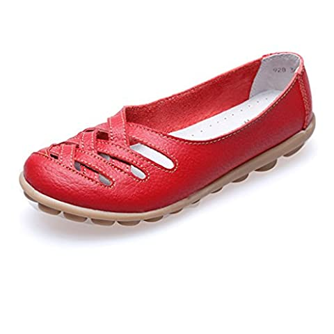 Oriskey Women's Ladies Cut Out Leather Casual Loafers Flat Boat Shoes Driving Red Sandals Size 3.5