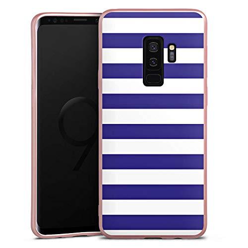 DeinDesign Silikon Hülle Rosé Gold kompatibel mit Samsung Galaxy S9 Plus Duos Case Schutzhülle Marine Weiss Blau Streifen