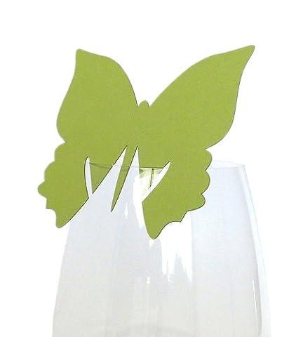 50x Tischkarten Hochzeit EinsSein® Schmetterling hellgrün - Tischkarten, Platzkarten, Namenskarten, Platzkartenhalter