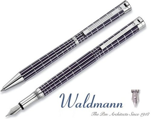 Waldmann Füllhalter und Kugelschreiber Set XETRA Raute 925er Sterling Silber