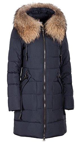 850 Damen Winterjacke mit Echtfellbesatz (42, blau)