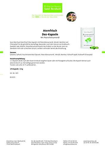 Sanct Bernhard Atemfrisch Deo-Kapseln mit Pfefferminzöl, Menthol & Chlorophyll - 170 Kapseln - 2