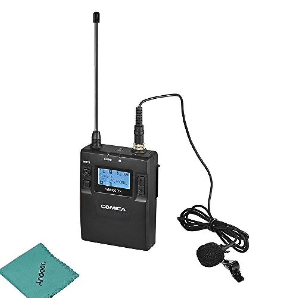 CoMica CVM-WM300TX UHF 96 Kanal Wireless Mikrofon Sender mit Lavalier Mic Eingebaute Lithium Batterie 3.7V 2000mAh für DSLR-Kamera Camcorder