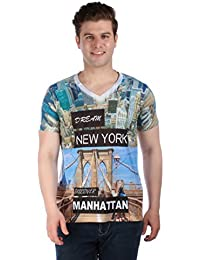 LNDN HOUR Half Sleeves New Stylish Full Front Digital Print, From New York , V Neck Cotton Tshirt, Latest High Quality Fashion Garments For Mens / Boys. White Colour
