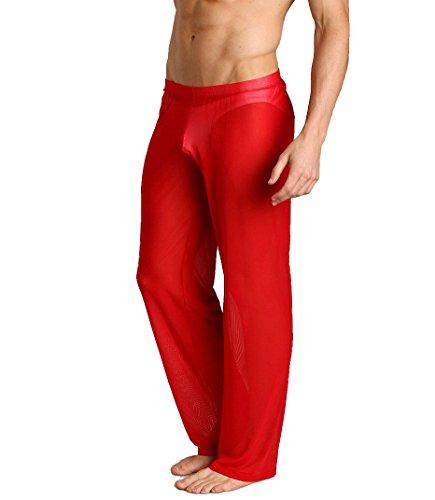 Herren Hose transparent Unterwäsche Rot Lange Unterhosen Sheer Pant (M) -