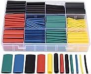 طقم 530 قطعة من اغطية اسلاك الكابل تتقلص بالحرارة وتتضمن انابيب اسطوانية لعزل الكهرباء ومصنوعة من البوليولفين