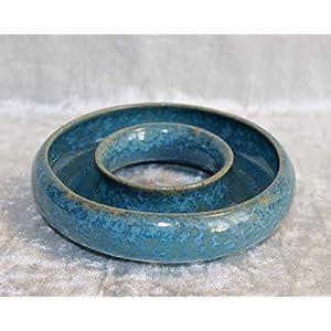 Blumenring Keramik türkisblaue Kristallglasur, schöne Dekoraton – ideales Geschenk
