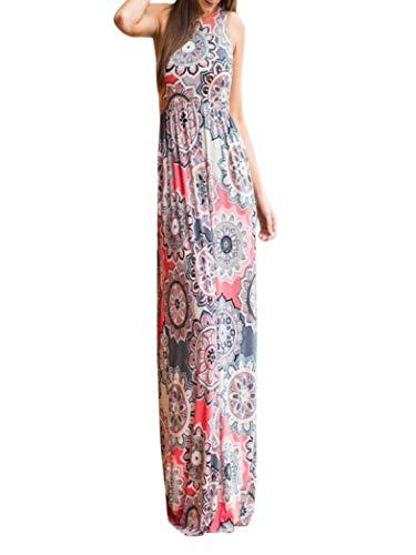 Honestyi Damen Maxikleider Sommerkleider Vintage Boho Blumen Kleid Neckholder Printkleider Partykleider Strandkleider Minikleid Große Größe S-XXL (S, PLN-Rosa)