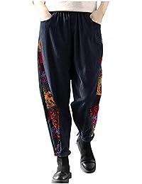 Timogee Pantalones de Pana para Mujer Pantalones Anchos de Labor de Retazos Pantalones de Cintura Alta Elásticos de Pierna Ancha