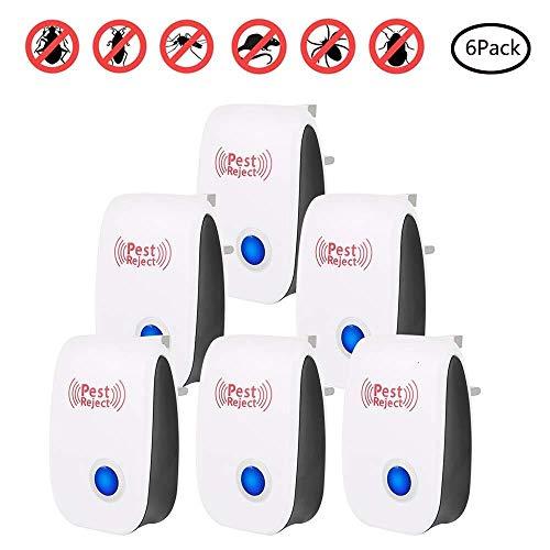 FANPING 6-Pack, neueste Ultraschallplage-abstoßende Plug-in for elektronische Vermin Steuerung Innen Verwendung for Mosquitos, Flies, Kakerlaken, Ratten, Mäuse, Weiss (Color : White)