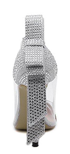 Aisun Damen Modisch Spitze Strass Transparent Schleife High Heels Pumps Silber
