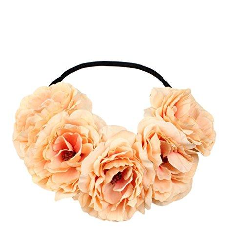 chzeit Blumen Haar Girlande Krone Stirnband Blumenkranz Hairband (Gelb) (Blume Hairband)
