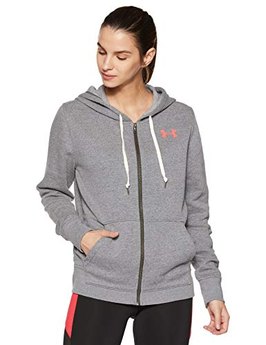 Under Armour Damen Favorite Full Zip Fleece, Grau Carbon Heather, M Long Sleeve Full Zip Fleece