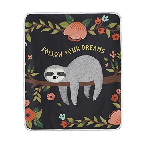 BIGJOKE Decke, Tier-Faultier, Blumen-Zitat, weiche Decke für Babys, Jungen, Mädchen, Sofa, Bett,...