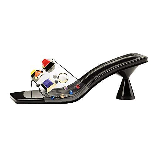 GSHGA G Frauen Sandalen Mode Open Toe Hausschuhe Tragen Sexy Kegel und Hausschuhe Transparent Candy Farbe Nieten, Shallowmouth, Metallic High Heel