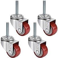 4 ruedas giratorias de poliuretano, M12 x 60 mm, vástago roscado