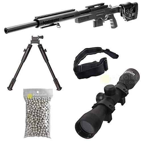 Pack complet Airsoft S.A.S 10 Style MSR Sniper/Sniper à Ressort/métal-ABS/Rechargement Manuel (0.5 Joule)-Livré avec Accessoires