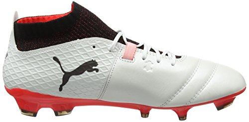 Puma One 17.1 FG, Chaussures de Football Homme Blanc (White-black-fiery Coral)