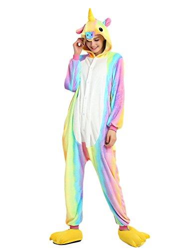 LATH.PIN Tier Karton Kostüm Einhorn PyjamaTierkostüme Jumpsuit Erwachsene Schlafanzug Unisex Cosplay (XL(Höhe175-182CM), Regenbogen) (Männer Kostüme)