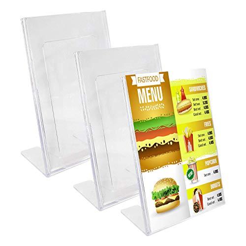 A5 Porta-Brochure da Banco - 3 Confezione (Altezza: 22cm(8.66') Larghezza: 16cm(6.3')) Porta-Avvisi da Tavolo L Plexiglas Trasparente Porta Menu da Tavolo per Brochure, Supporti Foto e Cartello Menù