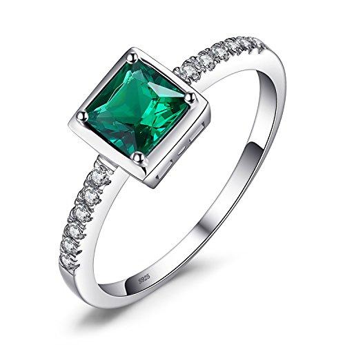 Jewelrypalace 0.55ct Luxus Geschenk Quadratische Prinzessin Damen Grün Simulierte Nano Russisch Smaragd Ringe 925 Sterling Silber Luxus Geschenk