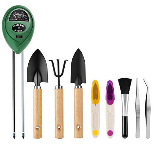 Kungber Bodentester mit 8pcs Mini Bonsai Werkzeug, 3 in 1 Boden Feuchtigkeit Meter, Licht und pH-Tester, einschließlich Gartenschere, Pinzette, Mini-Schaufel, Mini-Rechen und Weiche Bürste (Set A)
