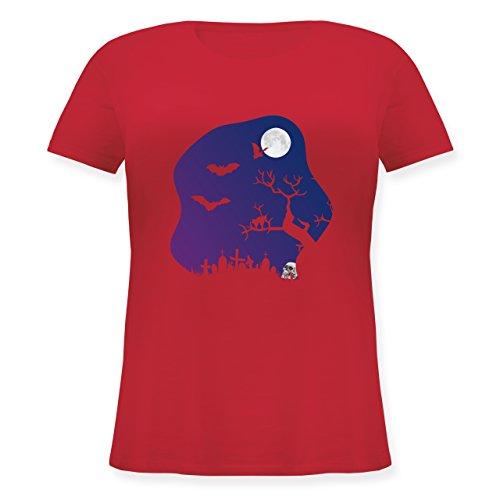 gruselig Totenkopf Mond - S (44) - Rot - JHK601 - Lockeres Damen-Shirt in großen Größen mit Rundhalsausschnitt ()