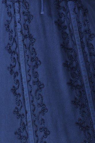 Sakkas Robe Trompette Délavée Taille Empire Vigne Floral Crêpe Incrusté Ourlet Volants Bleu Marine