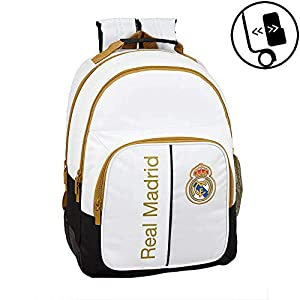 413G7LUvXYL. SS300  - Real Madrid CF 8412688352012 Mochila Doble con Cantoneras Adaptable a Carro, Única