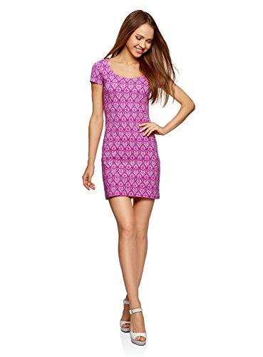 oodji Ultra Damen Enges Jersey-Kleid, Violett, DE 38/EU 40/M (Baumwoll-jersey Damen-kurz)