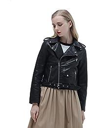 Eyekepper Moda de las mujeres de manga larga de cremallera PU suave de cuero chaqueta de abrigo delgado con hebilla ajustable