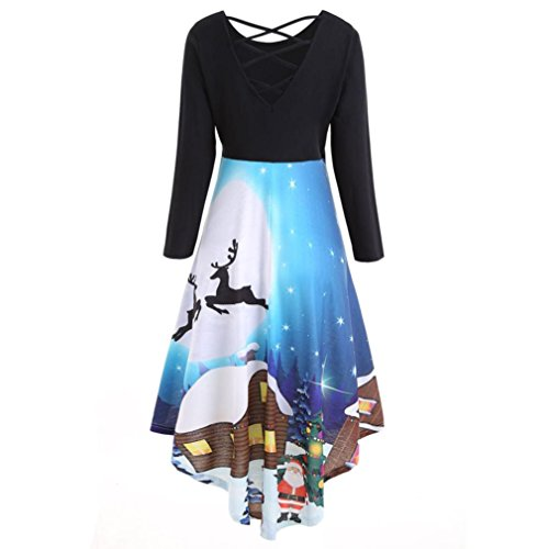 Vestito Donna , Rcool Ms. stampa di Natale vestito da sera lungo del vestito dal manicotto Blu