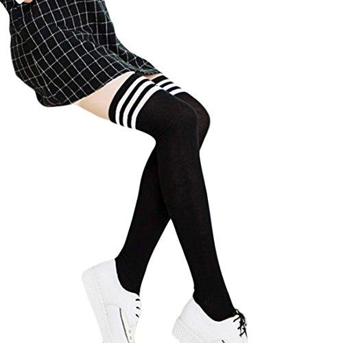 Gestreiften Lange Socken (TWIFER Mädchen Winter über Kniestrümpfe Beinwärmer Damen Weiche Baumwollsocken Leggings (Schwarz, 56cm))